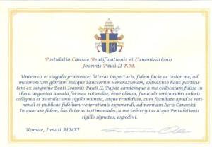 pergamena beatificazione giovanni paolo ii san martino