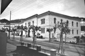 Via Crispi e il doppio filare di oleandri in una foto del 1938