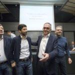 Da sinistra Arturo Scotto, Roberto Speranza, Enrico Rossi, Massimiliano Smeriglio, alla presentazione del Movimento Democratici e Progressisti, che nasce alla sinistra del Pd, 25 febbraio 2017 a Roma. ANSA/MASSIMO PERCOSSI